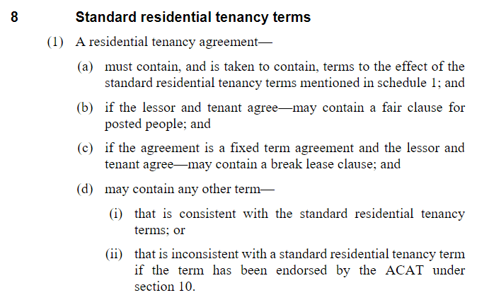 Standard terms Residential Tenancies ACT 1997