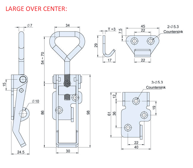 LARGE OVER CENTER CAD