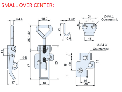 SMALL OVER CENTER FASTENER CAD